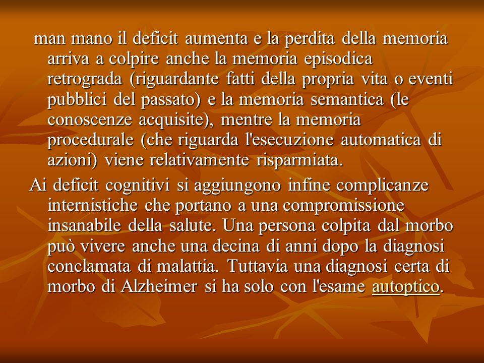 man mano il deficit aumenta e la perdita della memoria arriva a colpire anche la memoria episodica retrograda (riguardante fatti della propria vita o