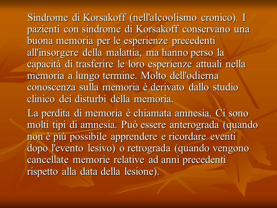 Sindrome di Korsakoff (nell'alcoolismo cronico). I pazienti con sindrome di Korsakoff conservano una buona memoria per le esperienze precedenti all'in