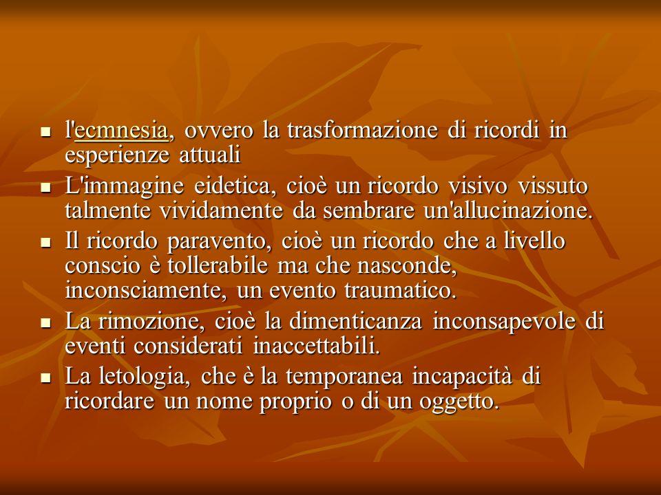 l'ecmnesia, ovvero la trasformazione di ricordi in esperienze attuali l'ecmnesia, ovvero la trasformazione di ricordi in esperienze attualiecmnesia L'