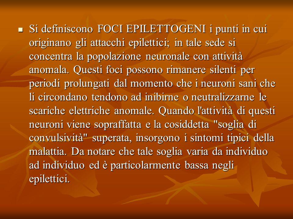 Si definiscono FOCI EPILETTOGENI i punti in cui originano gli attacchi epilettici; in tale sede si concentra la popolazione neuronale con attività anomala.