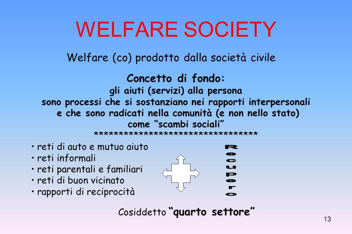 12 Scenari attuali e futuri Welfare mix dove interagiscono: lo Stato le imprese for profit e non profi organizzazioni formali ed informali di utenti/cittadini