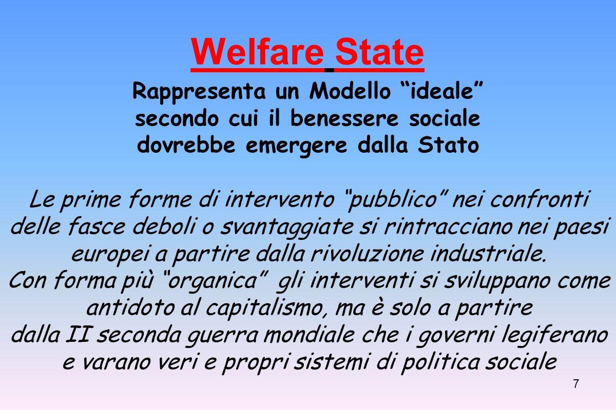7 Welfare State Rappresenta un Modello ideale secondo cui il benessere sociale dovrebbe emergere dalla Stato Le prime forme di intervento pubblico nei confronti delle fasce deboli o svantaggiate si rintracciano nei paesi europei a partire dalla rivoluzione industriale.