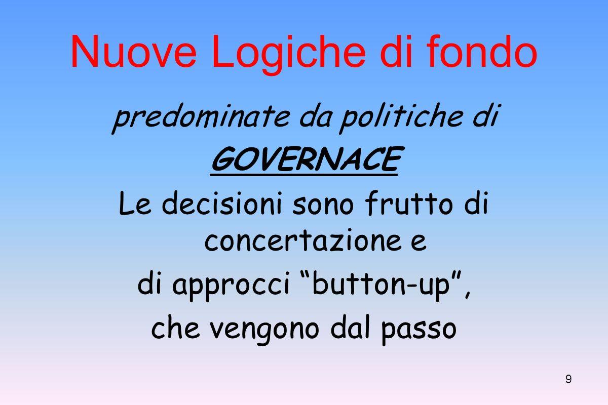 9 Nuove Logiche di fondo predominate da politiche di GOVERNACE Le decisioni sono frutto di concertazione e di approcci button-up, che vengono dal passo