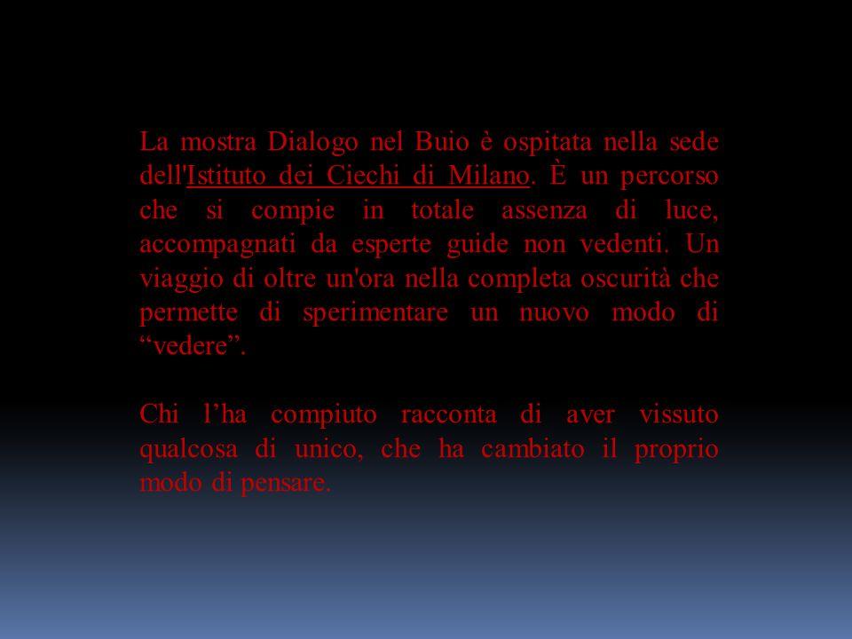 DI COSA SI TRATTA Dialogo nel Buio è una mostra/percorso allestita da dicembre 2005 presso lIstituto dei Ciechi di Milano.