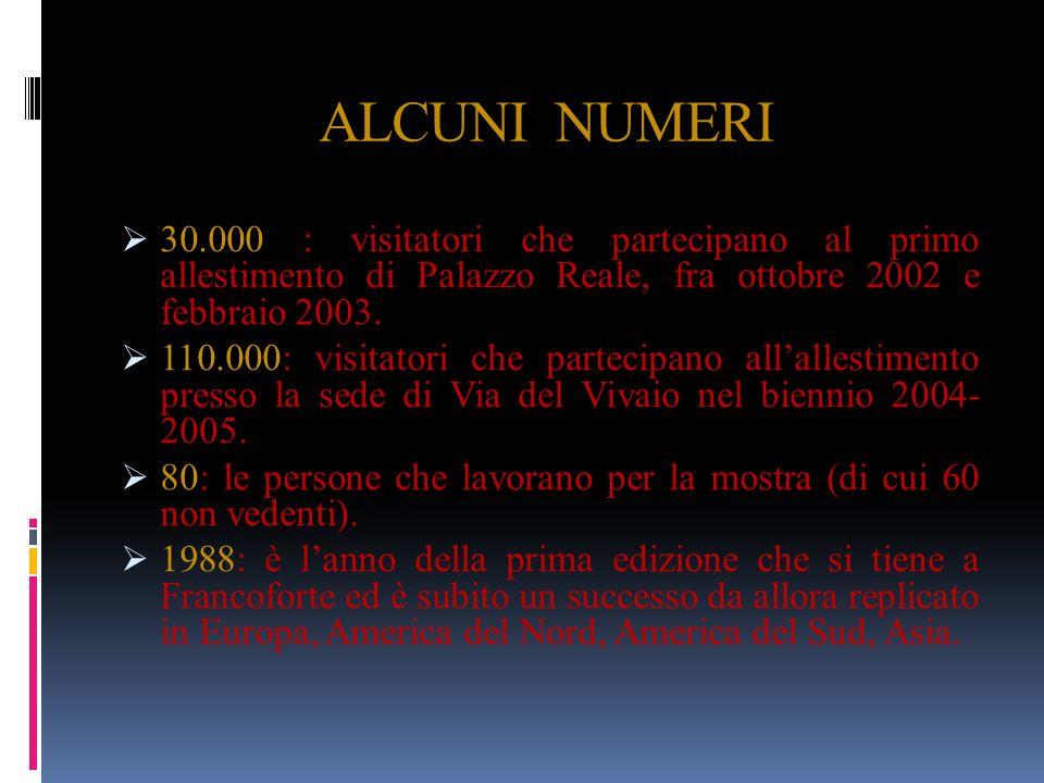 ALCUNI NUMERI 30.000 : visitatori che partecipano al primo allestimento di Palazzo Reale, fra ottobre 2002 e febbraio 2003. 110.000: visitatori che pa