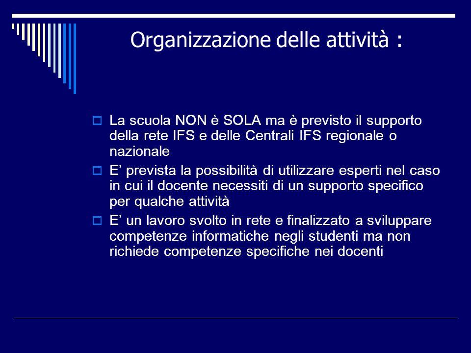 Organizzazione delle attività : La scuola NON è SOLA ma è previsto il supporto della rete IFS e delle Centrali IFS regionale o nazionale E prevista la