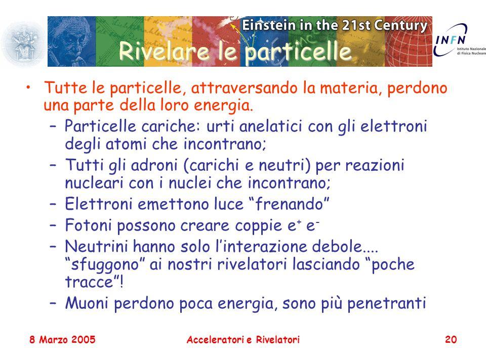 8 Marzo 2005Acceleratori e Rivelatori20 Rivelare le particelle Tutte le particelle, attraversando la materia, perdono una parte della loro energia. –P