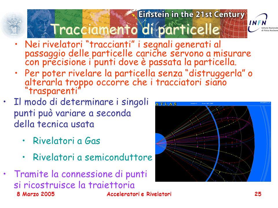 8 Marzo 2005Acceleratori e Rivelatori25 Tracciamento di particelle Nei rivelatori traccianti i segnali generati al passaggio delle particelle cariche