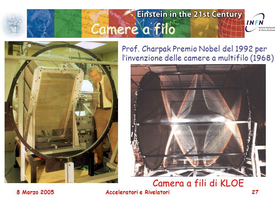 8 Marzo 2005Acceleratori e Rivelatori27 Camere a filo Prof. Charpak Premio Nobel del 1992 per linvenzione delle camere a multifilo (1968) Camera a fil