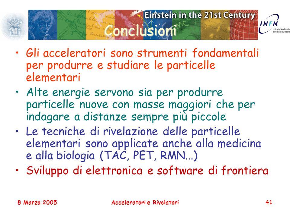8 Marzo 2005Acceleratori e Rivelatori41 Conclusioni Gli acceleratori sono strumenti fondamentali per produrre e studiare le particelle elementari Alte