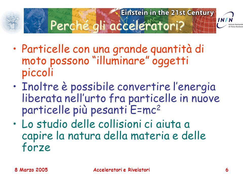 8 Marzo 2005Acceleratori e Rivelatori6 Perché gli acceleratori? Particelle con una grande quantità di moto possono illuminare oggetti piccoli Inoltre