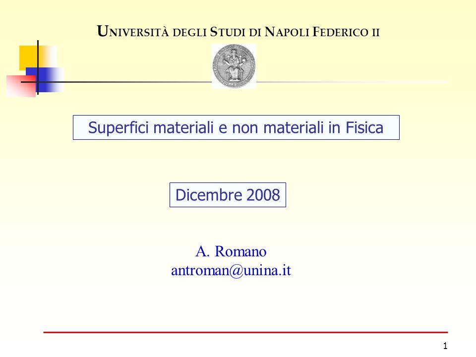 1 U NIVERSITÀ DEGLI S TUDI DI N APOLI F EDERICO II Dicembre 2008 Superfici materiali e non materiali in Fisica A.