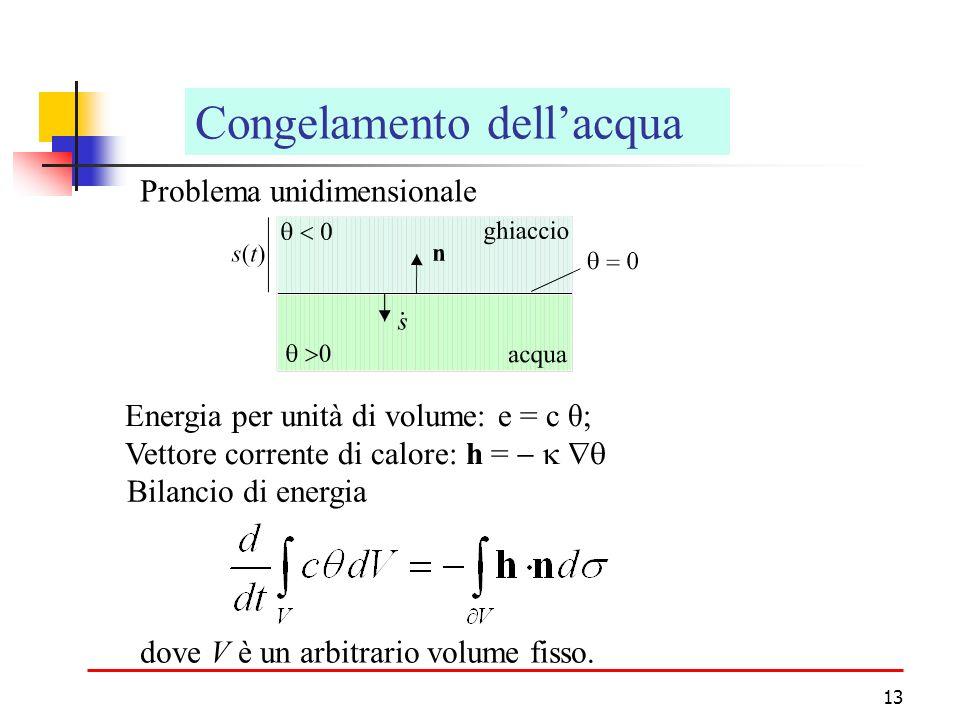 13 Congelamento dellacqua Problema unidimensionale Energia per unità di volume: e = c θ; Vettore corrente di calore: h = Bilancio di energia dove V è un arbitrario volume fisso.