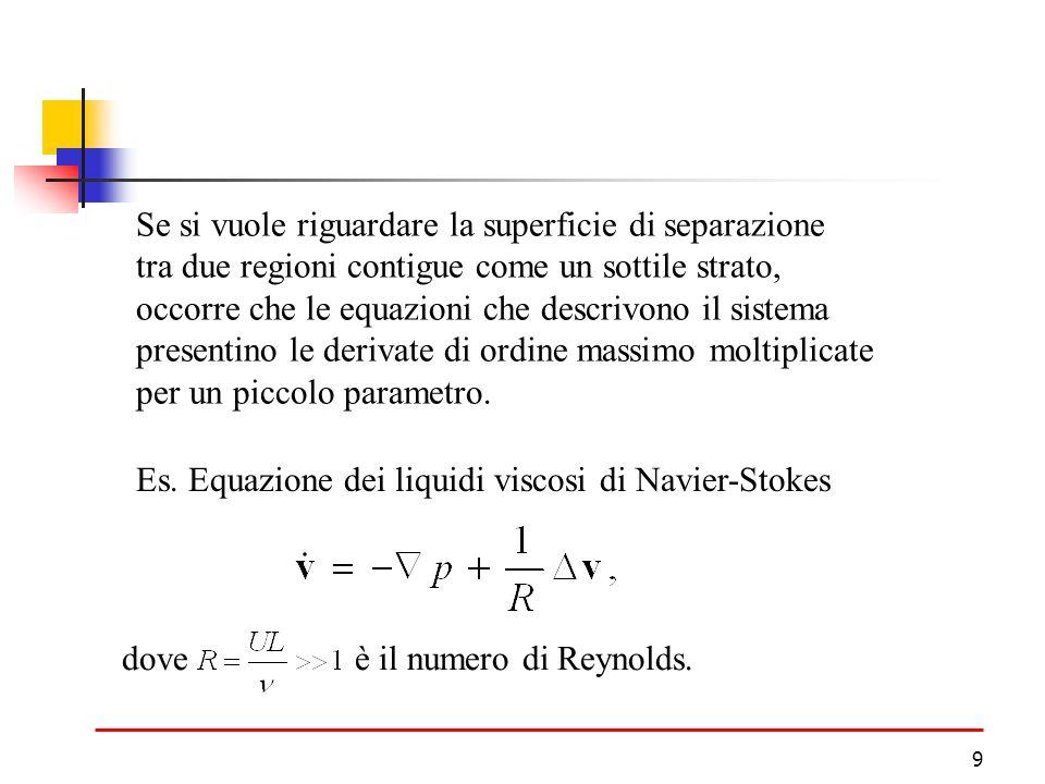 9 Se si vuole riguardare la superficie di separazione tra due regioni contigue come un sottile strato, occorre che le equazioni che descrivono il sistema presentino le derivate di ordine massimo moltiplicate per un piccolo parametro.