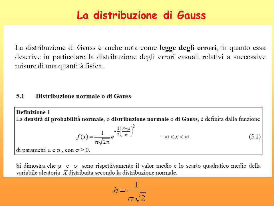 La distribuzione di Gauss (2) La distribuzione di Gauss è anche nota come legge degli errori, in quanto essa descrive in particolare la distribuzione