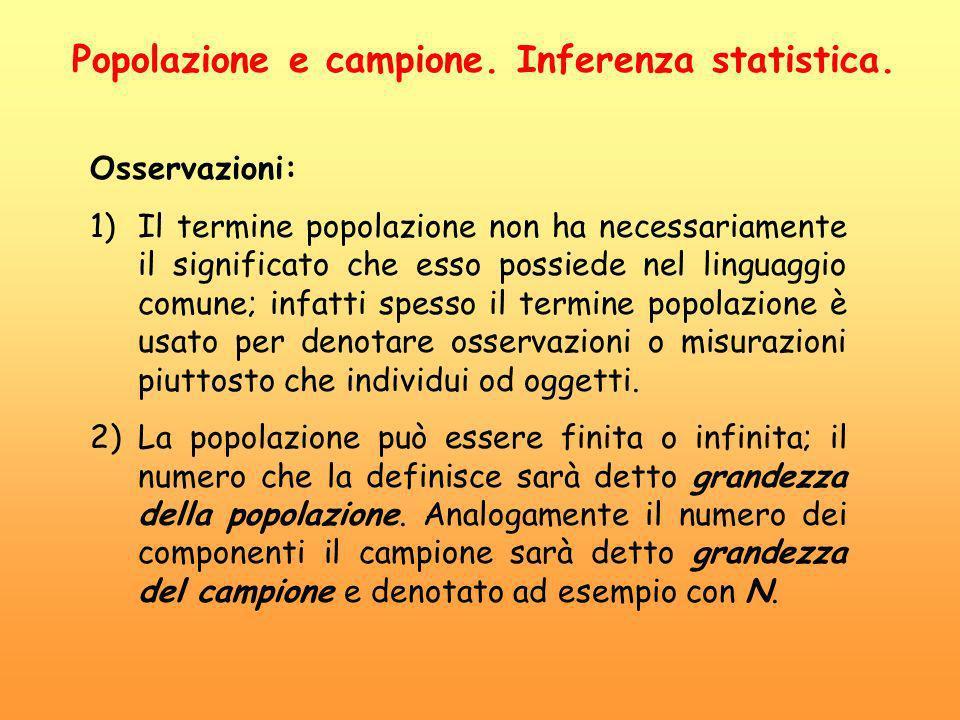 Osservazioni: 1)Il termine popolazione non ha necessariamente il significato che esso possiede nel linguaggio comune; infatti spesso il termine popola