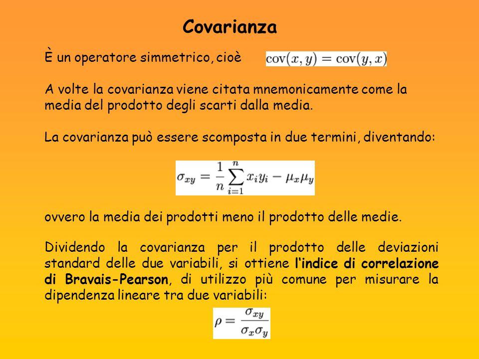 È un operatore simmetrico, cioè A volte la covarianza viene citata mnemonicamente come la media del prodotto degli scarti dalla media. La covarianza p