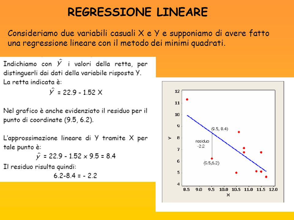 REGRESSIONE LINEARE Consideriamo due variabili casuali X e Y e supponiamo di avere fatto una regressione lineare con il metodo dei minimi quadrati.