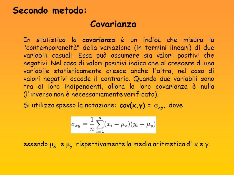 In statistica la covarianza è un indice che misura la