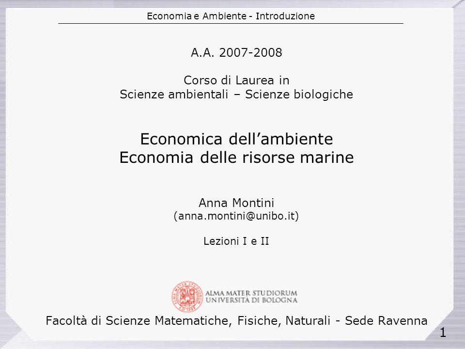 Economia e Ambiente - Introduzione 1 A.A.