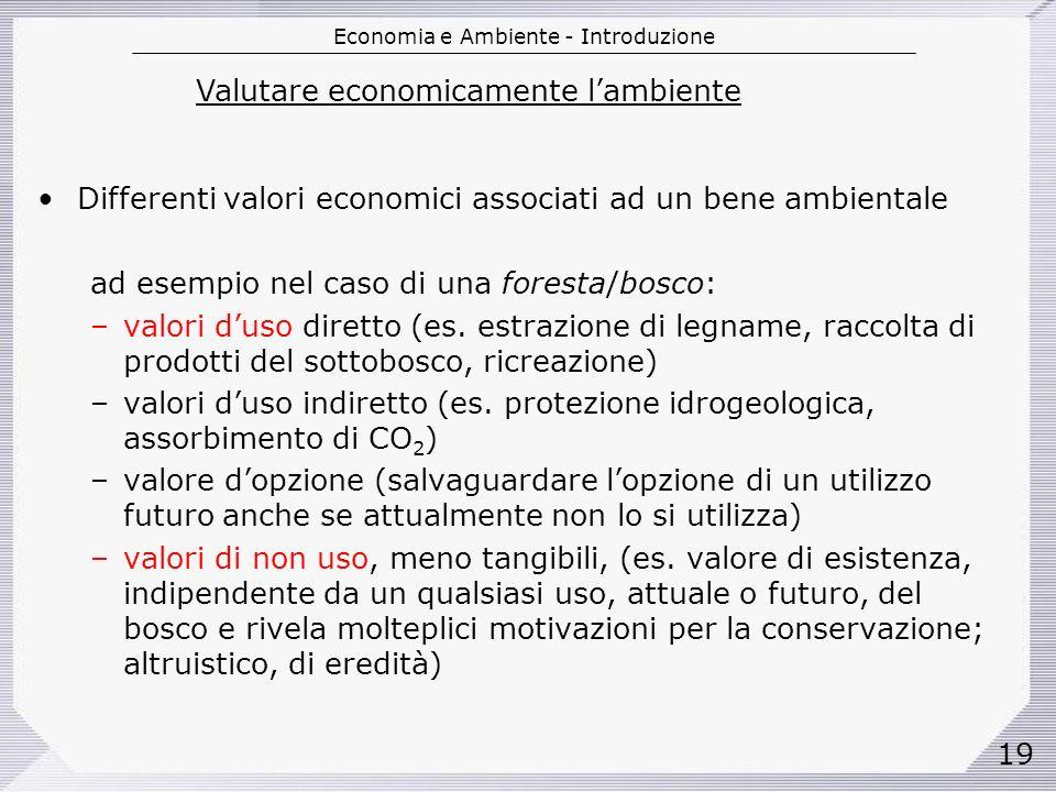 Economia e Ambiente - Introduzione 19 Differenti valori economici associati ad un bene ambientale ad esempio nel caso di una foresta/bosco: –valori duso diretto (es.