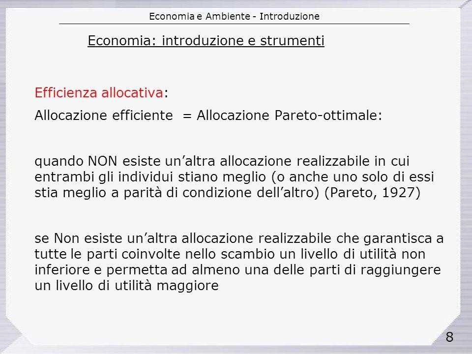 Economia e Ambiente - Introduzione 29 Mercato è essenzialmente unistituzione che sovrintende allo scambio di diritti di proprietà.