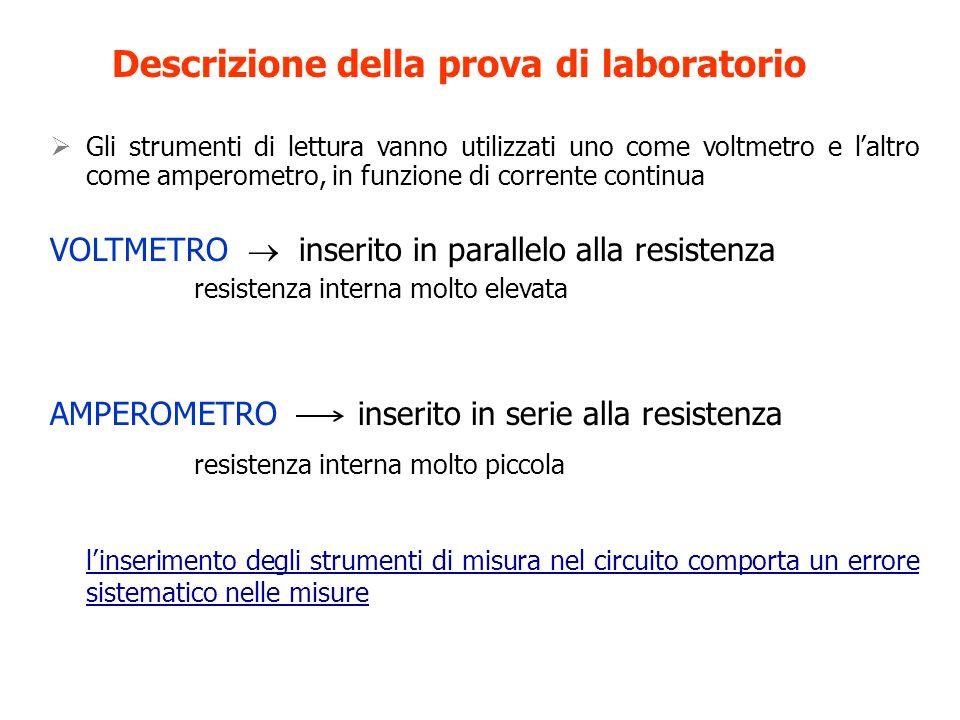 Gli strumenti di lettura vanno utilizzati uno come voltmetro e laltro come amperometro, in funzione di corrente continua VOLTMETRO inserito in paralle