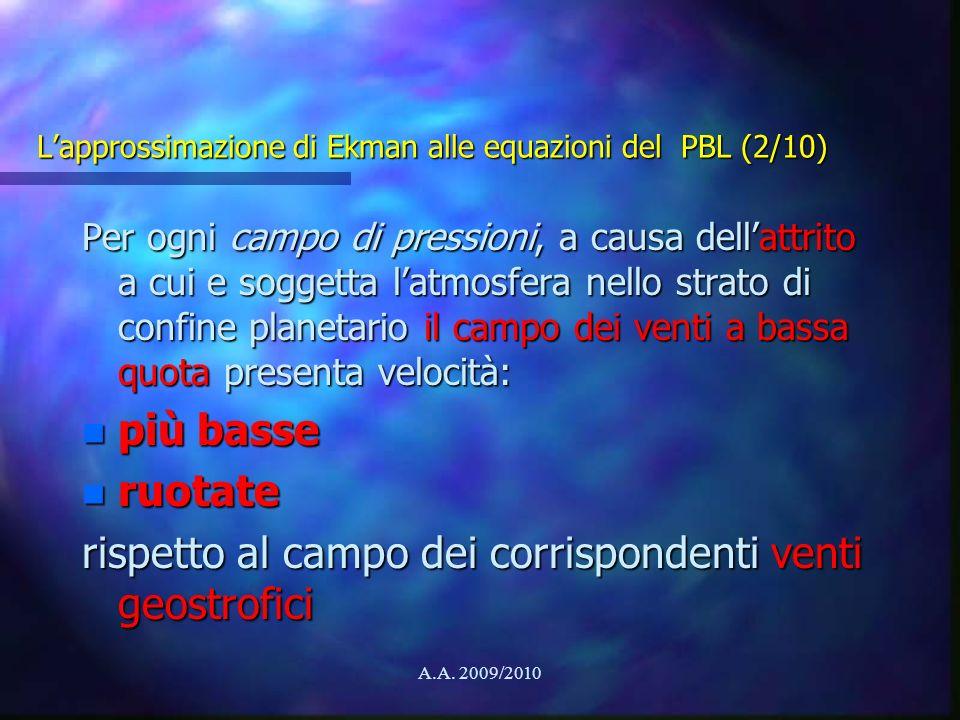 A.A. 2009/2010 Lapprossimazione di Ekman alle equazioni del PBL (2/10) Per ogni campo di pressioni, a causa dellattrito a cui e soggetta latmosfera ne