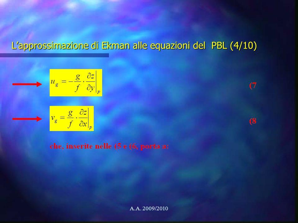 A.A. 2009/2010 Lapprossimazione di Ekman alle equazioni del PBL (4/10)