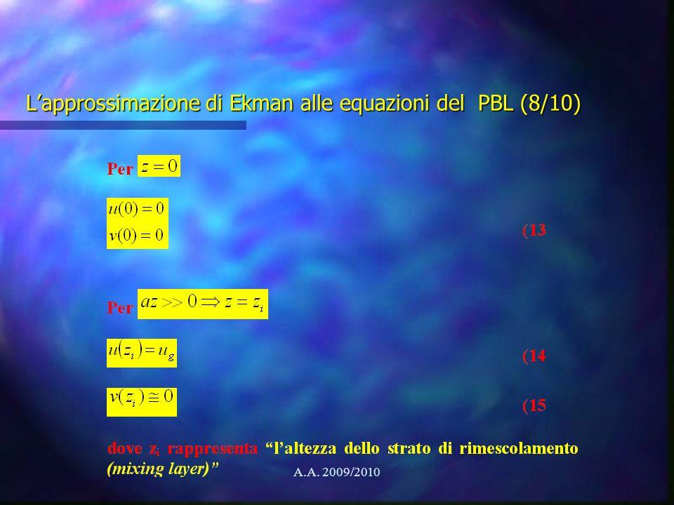 A.A. 2009/2010 Lapprossimazione di Ekman alle equazioni del PBL (8/10)