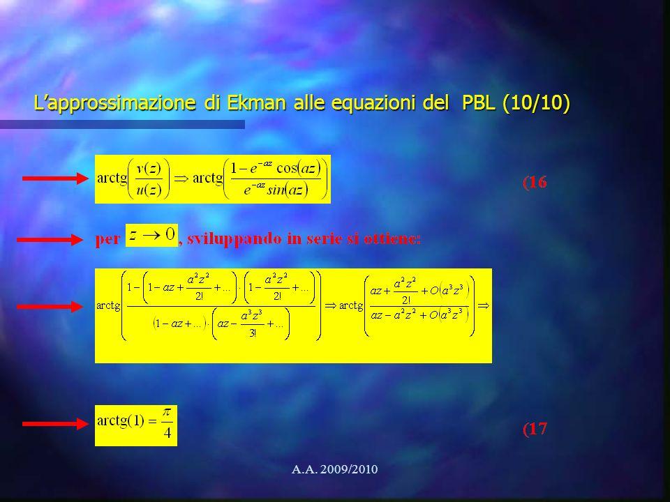 A.A. 2009/2010 Lapprossimazione di Ekman alle equazioni del PBL (10/10)