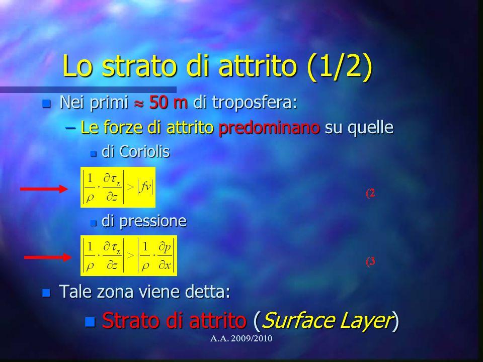A.A. 2009/2010 Lo strato di attrito (1/2) n Nei primi 50 m di troposfera: –Le forze di attrito predominano su quelle n di Coriolis n di pressione n Ta