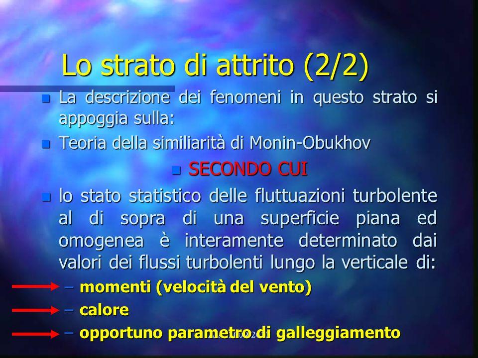 A.A. 2009/2010 Lo strato di attrito (2/2) n La descrizione dei fenomeni in questo strato si appoggia sulla: n Teoria della similiarità di Monin-Obukho