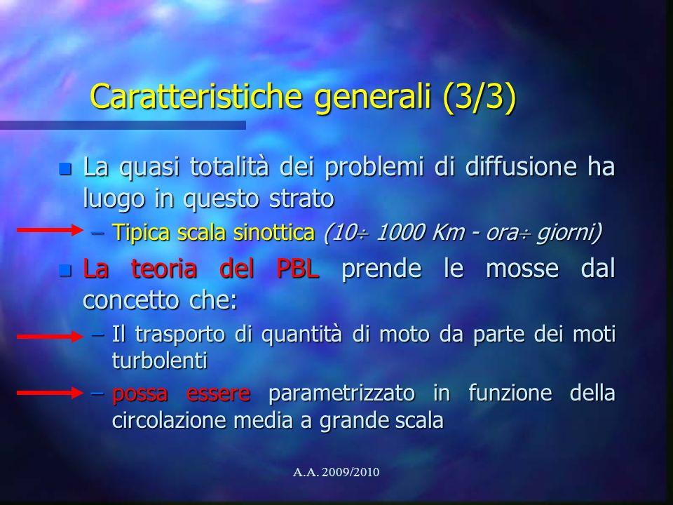 A.A. 2009/2010 Caratteristiche generali (3/3) n La quasi totalità dei problemi di diffusione ha luogo in questo strato –Tipica scala sinottica (10 100