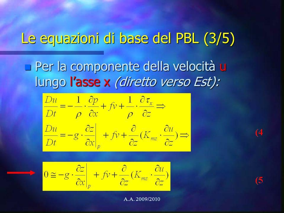 A.A. 2009/2010 Le equazioni di base del PBL (3/5) n Per la componente della velocità u lungo lasse x (diretto verso Est):