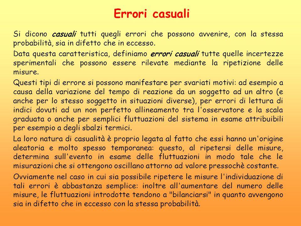 Errori casuali Si dicono casuali tutti quegli errori che possono avvenire, con la stessa probabilità, sia in difetto che in eccesso.