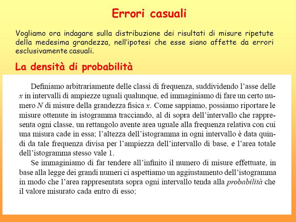 Errori casuali Vogliamo ora indagare sulla distribuzione dei risultati di misure ripetute della medesima grandezza, nellipotesi che esse siano affette da errori esclusivamente casuali.