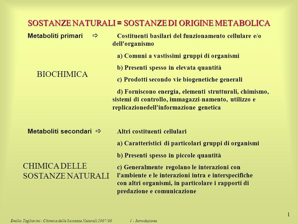 Emilio Tagliavini - Chimica delle Sostanze Naturali 2007/08 1 - Introduzione 1 Metaboliti primari Costituenti basilari del funzionamento cellulare e/o