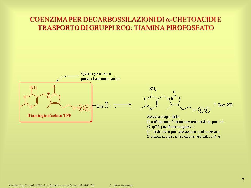 Emilio Tagliavini - Chimica delle Sostanze Naturali 2007/08 1 - Introduzione 7 COENZIMA PER DECARBOSSILAZIONI DI -CHETOACIDI E TRASPORTO DI GRUPPI RCO
