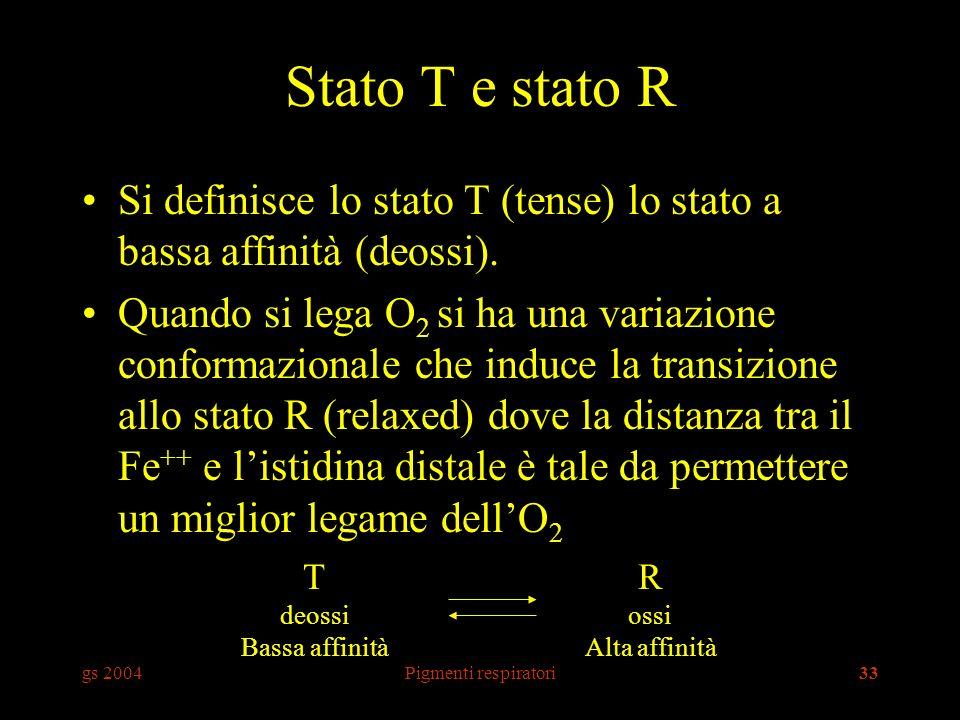 gs 2004Pigmenti respiratori33 Stato T e stato R Si definisce lo stato T (tense) lo stato a bassa affinità (deossi). Quando si lega O 2 si ha una varia