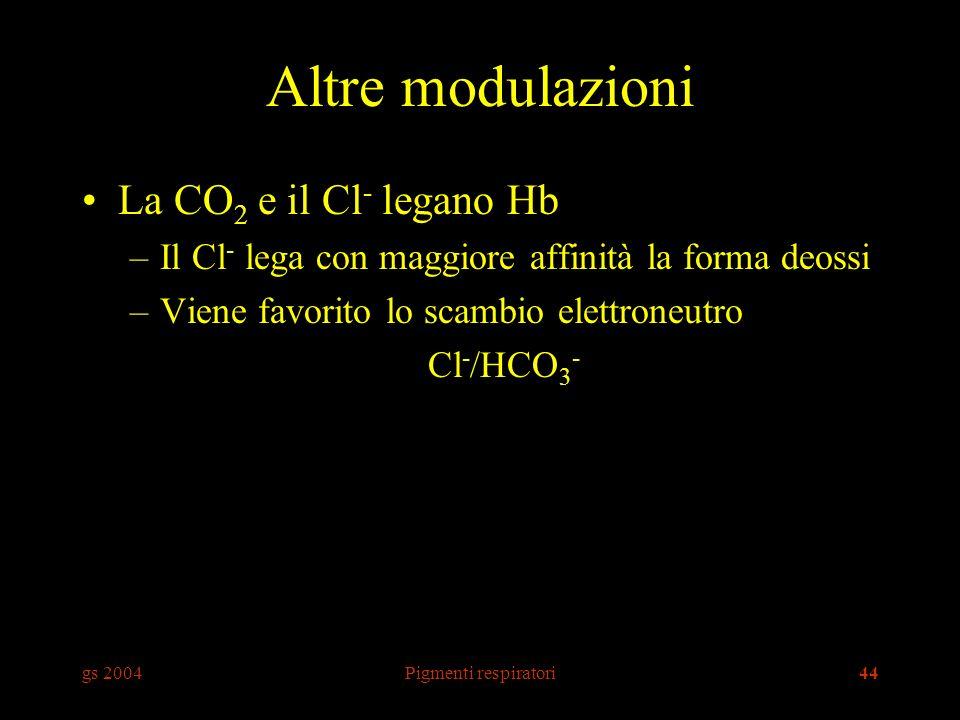 gs 2004Pigmenti respiratori44 Altre modulazioni La CO 2 e il Cl - legano Hb –Il Cl - lega con maggiore affinità la forma deossi –Viene favorito lo scambio elettroneutro Cl - /HCO 3 -