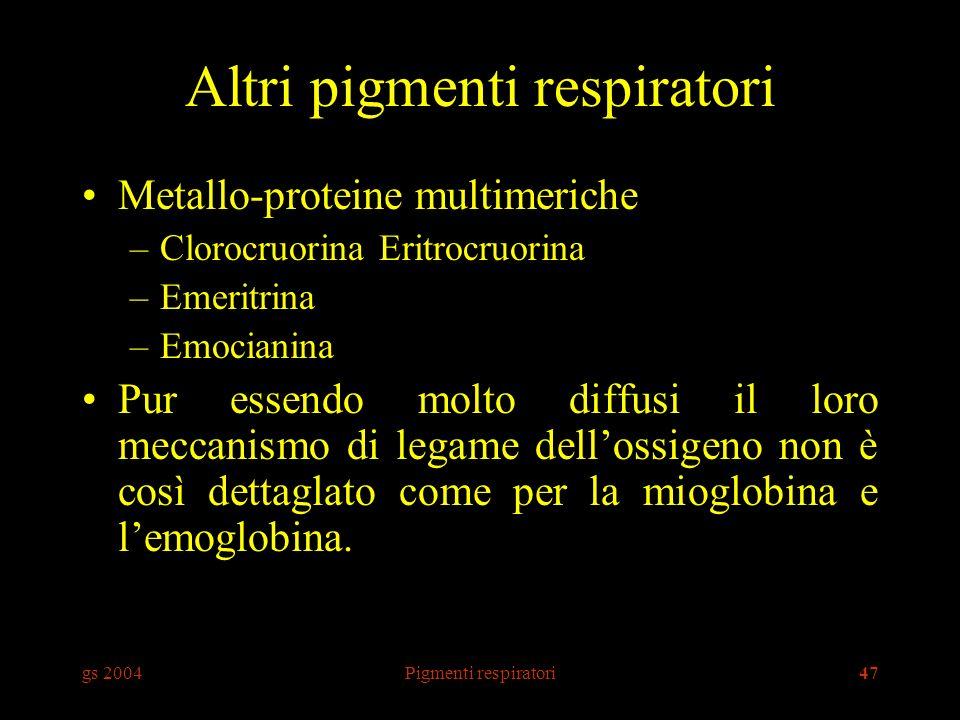 gs 2004Pigmenti respiratori47 Altri pigmenti respiratori Metallo-proteine multimeriche –Clorocruorina Eritrocruorina –Emeritrina –Emocianina Pur essen
