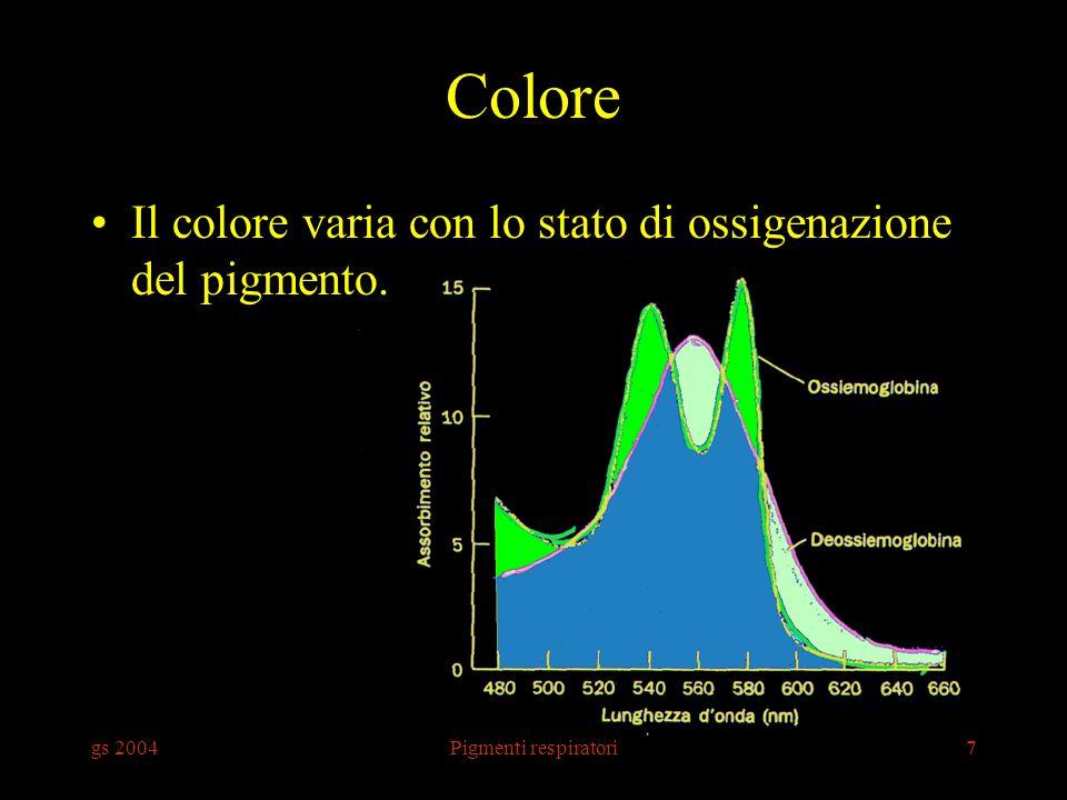 gs 2004Pigmenti respiratori7 Colore Il colore varia con lo stato di ossigenazione del pigmento.