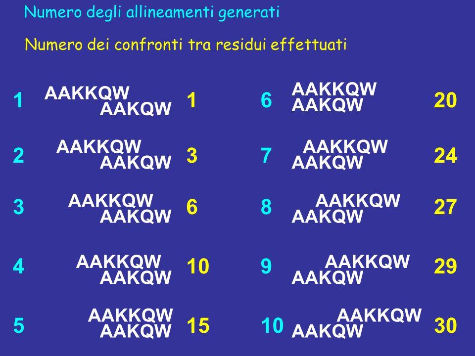AAKKQW AAKQW AAKKQW AAKQW AAKKQW AAKQW AAKKQW AAKQW AAKKQW AAKQW AAKKQW AAKQW AAKKQW AAKQW AAKKQW AAKQW AAKKQW AAKQW AAKKQW AAKQW 1 2 3 4 5 6 7 8 9 10 Numero degli allineamenti generati 1 3 6 10 15 20 24 27 29 30 Numero dei confronti tra residui effettuati