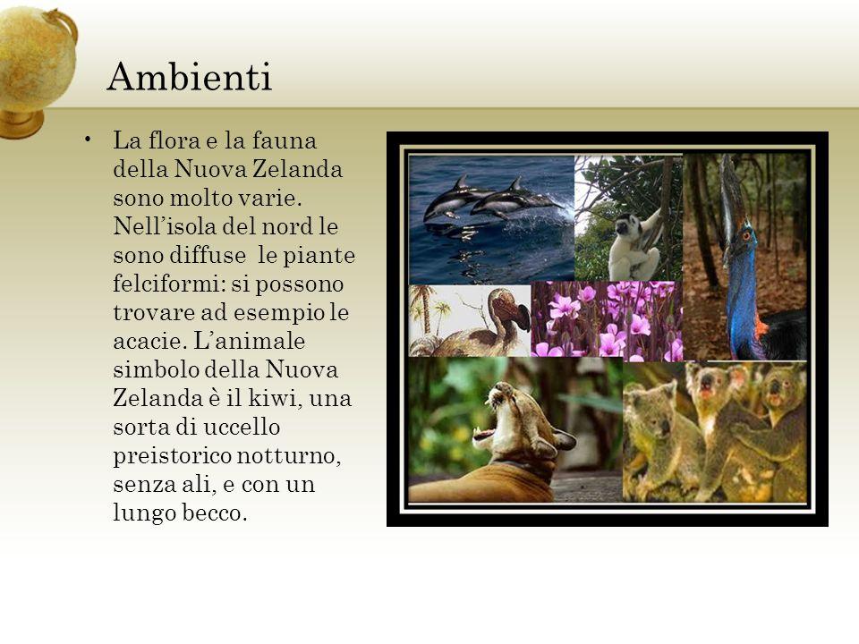 Ambienti La flora e la fauna della Nuova Zelanda sono molto varie.