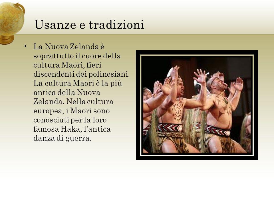 Usanze e tradizioni La Nuova Zelanda è soprattutto il cuore della cultura Maori, fieri discendenti dei polinesiani. La cultura Maori è la più antica d