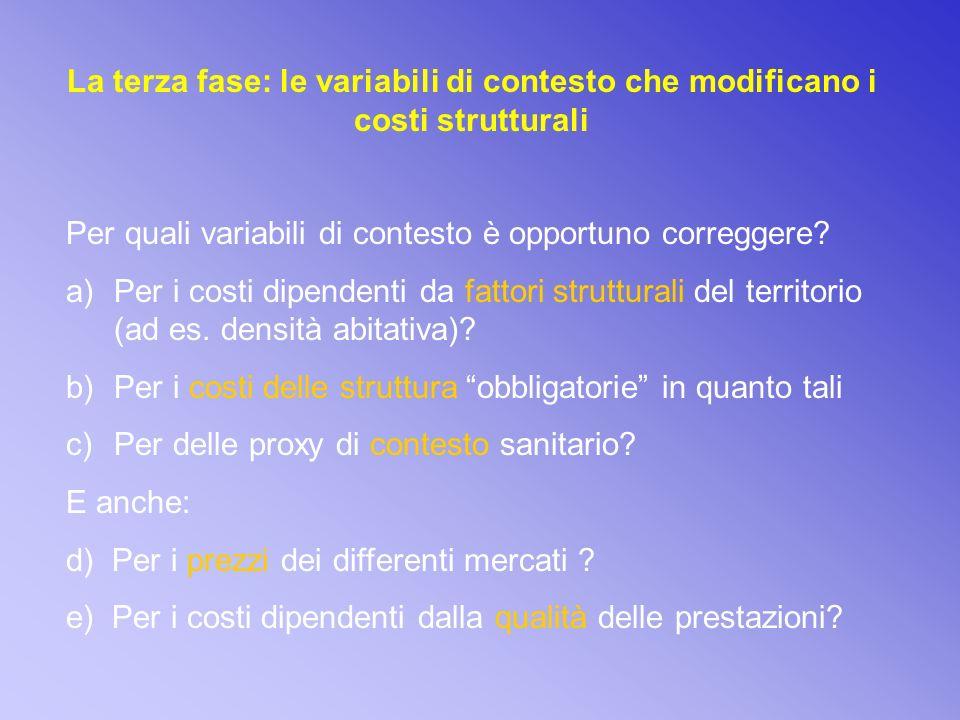 La terza fase: le variabili di contesto che modificano i costi strutturali Per quali variabili di contesto è opportuno correggere.