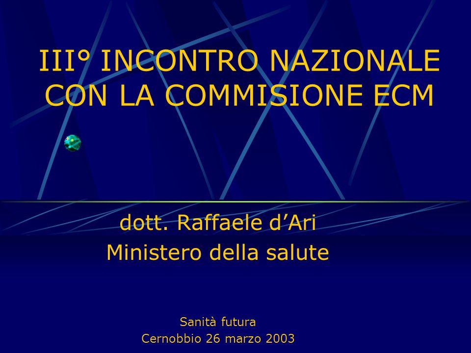 dott. Raffaele dAri Ministero della salute Sanità futura Cernobbio 26 marzo 2003 III° INCONTRO NAZIONALE CON LA COMMISIONE ECM