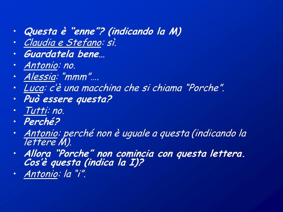 Questa è enne? (indicando la M) Claudia e Stefano: sì. Guardatela bene… Antonio: no. Alessia: mmm…. Luca: cè una macchina che si chiama Porche. Può es