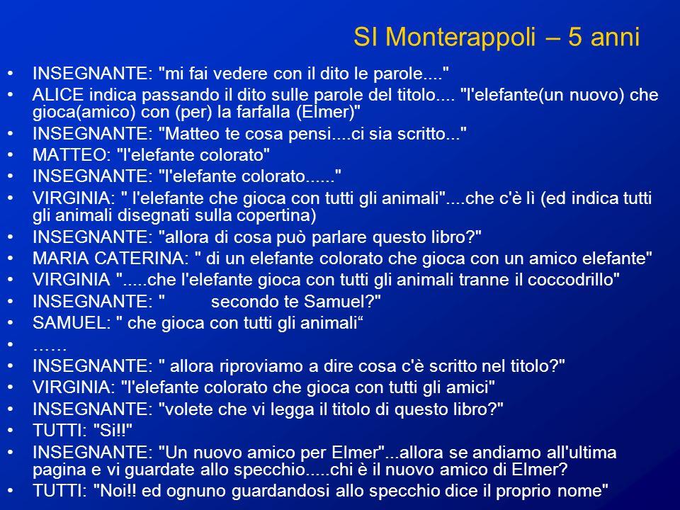 SI Monterappoli – 5 anni INSEGNANTE: